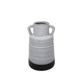 "Ceramic 8.75"" Handle Vase, Gray"