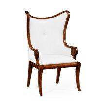 "Walnut ""Butterfly"" Upholstered Armchair - COM"