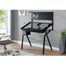 DRAFTING TABLE - ADJUSTABLE / GREY METAL / TEMPERED GLASS Product Image