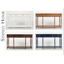 """Stately Home 60"""" Console- Antique White"""