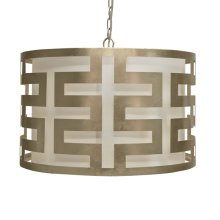 Silver Leafed Greek Key Pendant With Interior Shade and Diffuser.