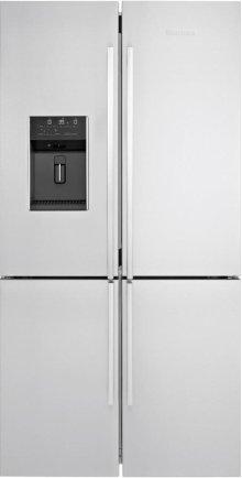 "36"" 4 Door French Door Refrigerator 26.5 cuft, wrapped stainless doors, stainless handles"