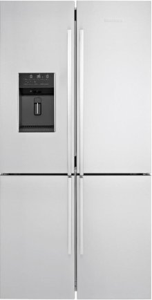 "36"" 4 Door French Door Refrigerator 26.5 cuft, wrapped stainless doors, stainless handles"