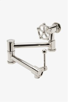 Regulator Wall Mounted Articulated Pot Filler with Metal Wheel and Lever Handle STYLE: RGPF02