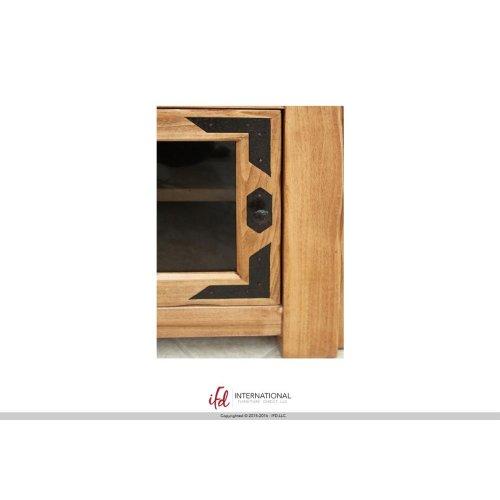 """62"""" TV-Console w/2 Glass doors & 2 Solid wood doors, 2 Drawers,1 Landscape glass door"""