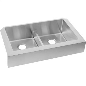 """Elkay Crosstown Stainless Steel 35-7/8"""" x 20-1/4"""" x 9"""", Equal Double Bowl Farmhouse Sink with Aqua Divide"""