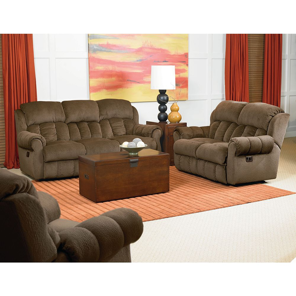 additional hawkeye double reclining sofa with folddown tray table