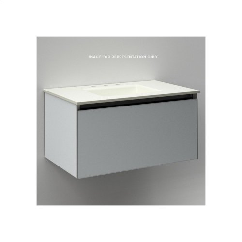 """Cartesian 30-1/8"""" X 15"""" X 18-3/4"""" Single Drawer Vanity In Matte Gray With Slow-close Plumbing Drawer and No Night Light"""