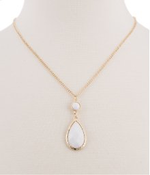 BTQ White Drop Stone Necklace