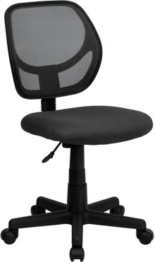 Low Back Gray Mesh Swivel Task Office Chair with Curved Square Back