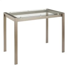 Fuji Counter Table - Antique Metal, Clear Glass