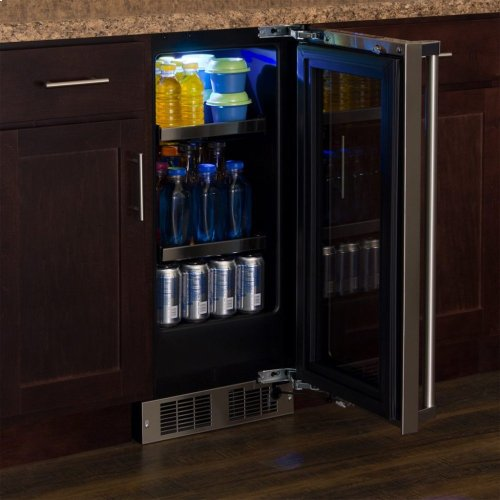 """Marvel Professional 15"""" Beverage Center - Stainless Frame, Glass Door with Lock - Integrated Left Hinge, Professional Handle"""