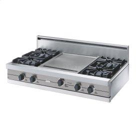 "Metallic Silver 42"" Open Burner Rangetop - VGRT (42"" wide, four burners 18"" wide griddle/simmer plate)"
