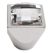 Crystal Large Square Knob 1 Inch - Matte Chrome