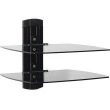 Tempered Glass On-Wall AV Component Shelves With Two Height Adjustable Shelves
