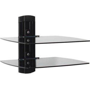 SanusTempered Glass On-Wall AV Component Shelves With Two Height Adjustable Shelves