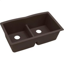 "Elkay Quartz Luxe 33"" x 19"" x 10"", Equal Double Bowl Undermount Sink with Aqua Divide, Chestnut"