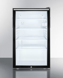 """Commercially Listed 20"""" Wide Glass Door All-refrigerator for Built-in Use, Auto Defrost With A Lock, Horizontal Handle and Black Cabinet"""