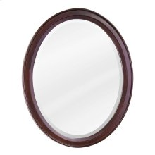 "22"" x 27-1/4"" Mahogany oval mirror with beveled glass"