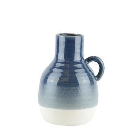 "Ceramic Handle Vase, 10"" Navy"