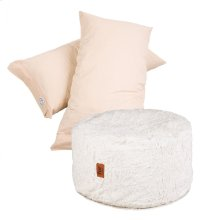 Pillow Pod Footstools - Faux Fur - White