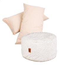 Pillow Pod Footstools - Faux Fur - White