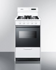 "Deluxe Gas Range In Slim 20"" Width With Electronic Ignition, Digital Clock/timer, Black Glass Oven Door, and White Porcelain Top; Replaces Wtm1303dk"