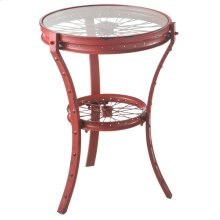 Distressed Red Wheel Accent Table.