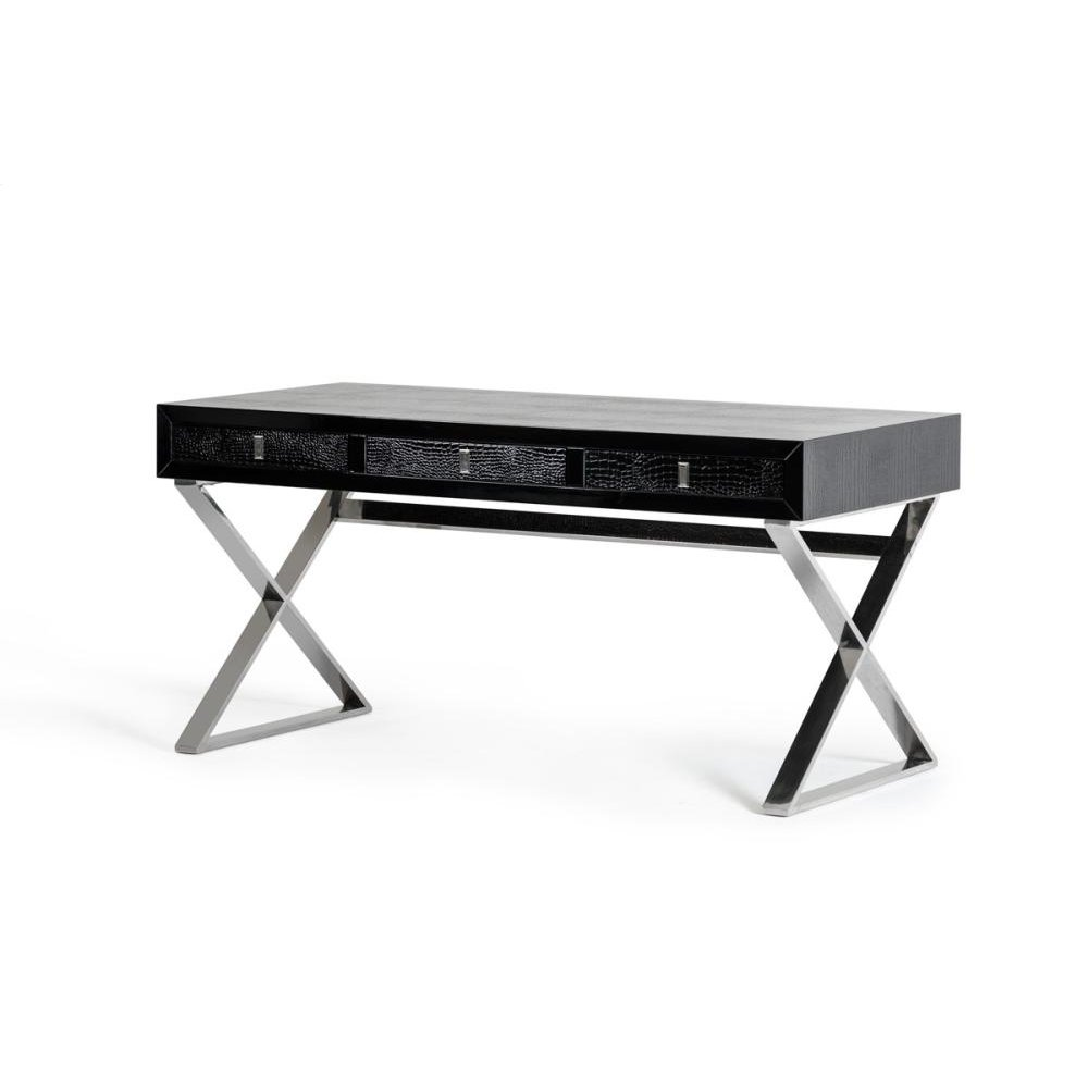 A&X Congress Transitional Black Crocodile Desk
