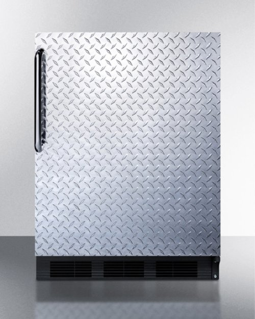 Built-in Undercounter Refrigerator-freezer for Residential Use, Cycle Defrost With A Diamond Plate Wrapped Door, Towel Bar Handle, and Black Cabinet