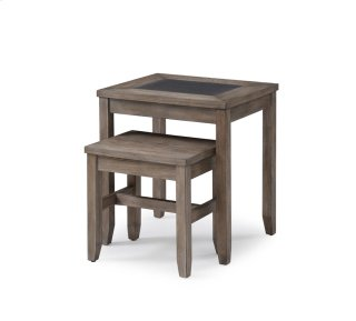 Nesting Tables-2 Pcs-honey Amber Wood W/tile Insert Rta