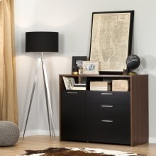 Storage Unit with File Drawer - Brown Walnut and Pure Black