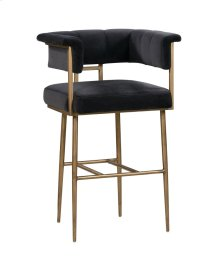 Astrid Grey Velvet Bar Stool