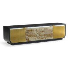 Chinoiserie Style Antique Etched Brass & Ebonised Oak TV & Entertainment Unit