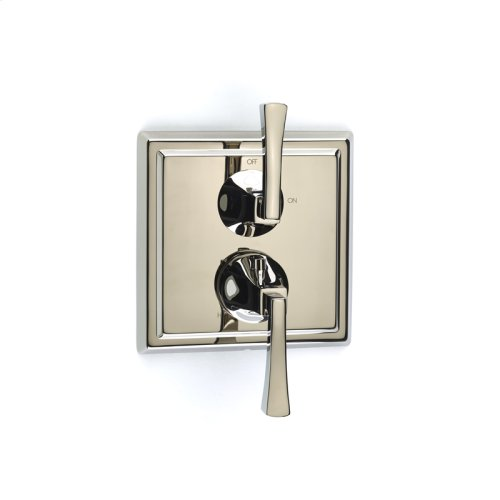 Dual Control Thermostatic with Volume Control Valve Trim Leyden (series 14) Polished Nickel