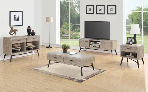 Emerald Home Nova Sofa Table Wood W/2 Drawers Sterling Gray-black Metal Legs T700-02