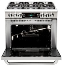 "36"" six Open Top Burner, Dual Fuel self-clean range, Liquid Propane"