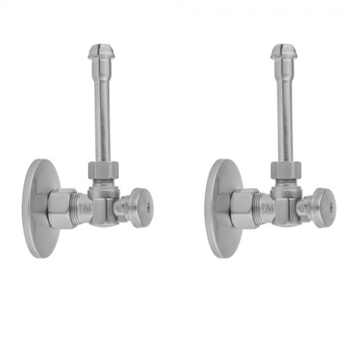 """Satin Brass - Quarter Turn Angle Pattern 5/8"""" O.D. Compression (Fits 1/2"""" Copper) x 3/8"""" O.D. Faucet Supply Kit with Oval Handle, 20"""" Supply Tubes, Escutcheons"""
