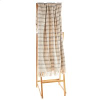 Natural & Navy Melange Broken Striped Throw Product Image