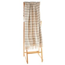 Natural & Navy Melange Broken Striped Throw.
