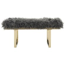 Maia Faux Sheepskin Bench - Grey