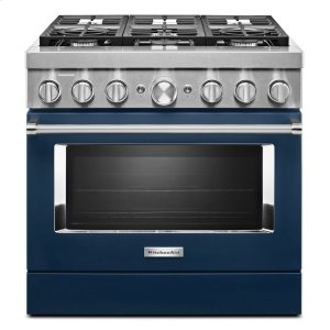 KitchenAidKitchenAid® 36'' Smart Commercial-Style Dual Fuel Range with 6 Burners - Ink Blue