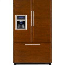 "Cabinet Depth French Door Refrigerator with External Dispenser, 69""(h), Custom Overlay"