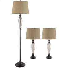 Set of 3 Metal & Glass Lamps