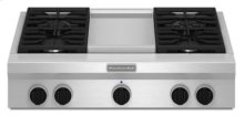 36-Inch 4 Burner with Griddle, Gas Rangetop, Commercial-Style - Stainless Steel