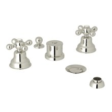Polished Nickel Arcana Five Hole Bidet Faucet with Arcana Series Only Cross Handle
