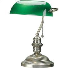 Banker's Lamp, Antique Brass, Green Glass Shade, E27 Cfl 13w