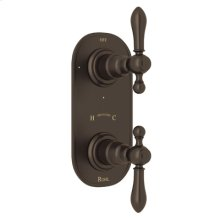 """Tuscan Brass Arcana Trim For 1/2"""" Thermostatic/Diverter Control Rough Valve with Arcana Cross Handle"""
