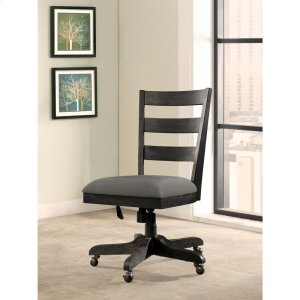 RiversidePerspectives - Wood Back Upholstered Desk Chair - Ebonized Acacia Finish