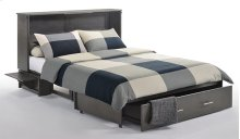 Murphy Cabinet Bed with Tri-Fold Queen Mattress, Folding Tray Nightstands and USB Charging Ports *Stonewash Finish*